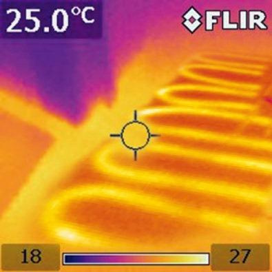 Вид напольного отопления с тепловизора