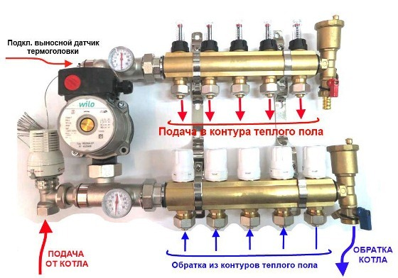 Коллектор с накладным датчиком температуры