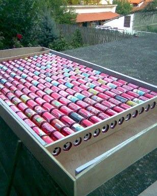 пивные банки для изготовления солнечного теплогенератора