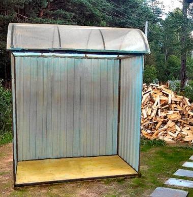 конструкция для хранения дров из поликарбоната