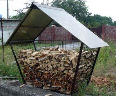 уличный навес для дров из металла