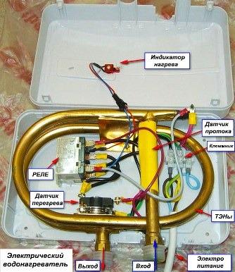 электрический проточный водогрейный аппарат