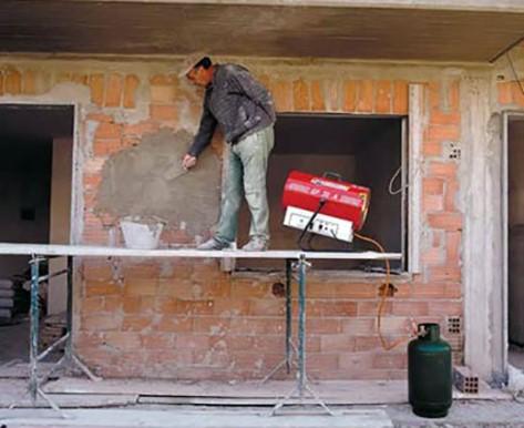 применение отопительной пушки на стройплощадке
