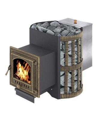 дровяная печь Скиф с навесным баком для нагрева воды