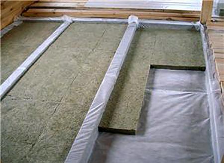 утепление на лагах плитной минеральной ватой