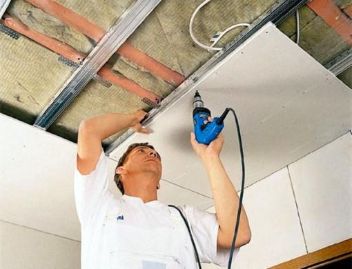 утепление потолка вместе с монтажом гипсокартонной системы