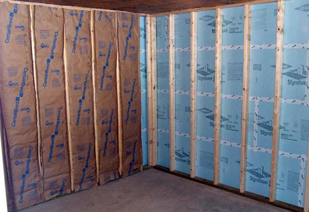 утепление стен гаража изнутри минватой