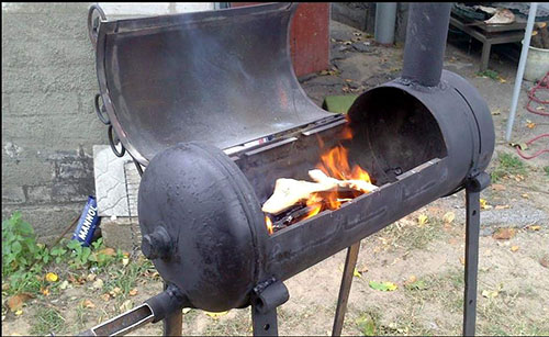 металлическое барбекю из газового баллона