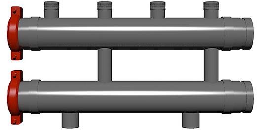 два коллектора увеличенного диаметра со штуцерами